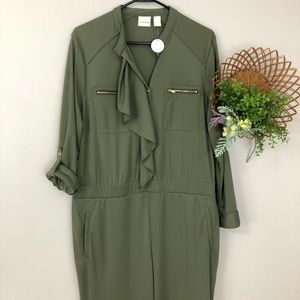 NWT Chico's sz3 (16) army green pants jumpsuit